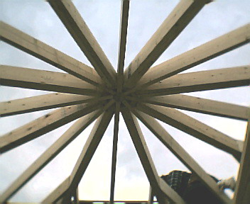 underside of octogonal gazebo roof frame in charleston