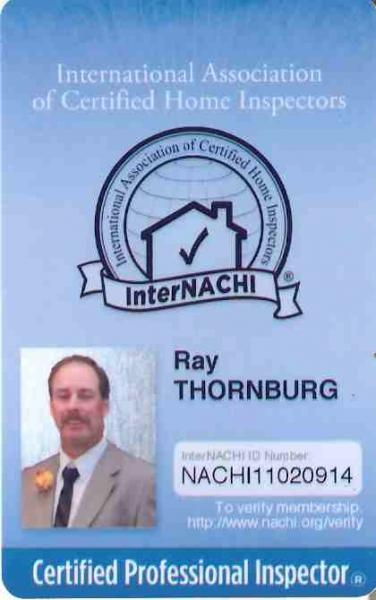 picture of ray thornburg's certified home inspector membership