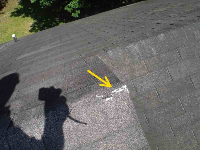 Crack in gable end shingle