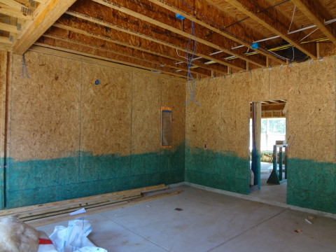 sheathing inside garage wall